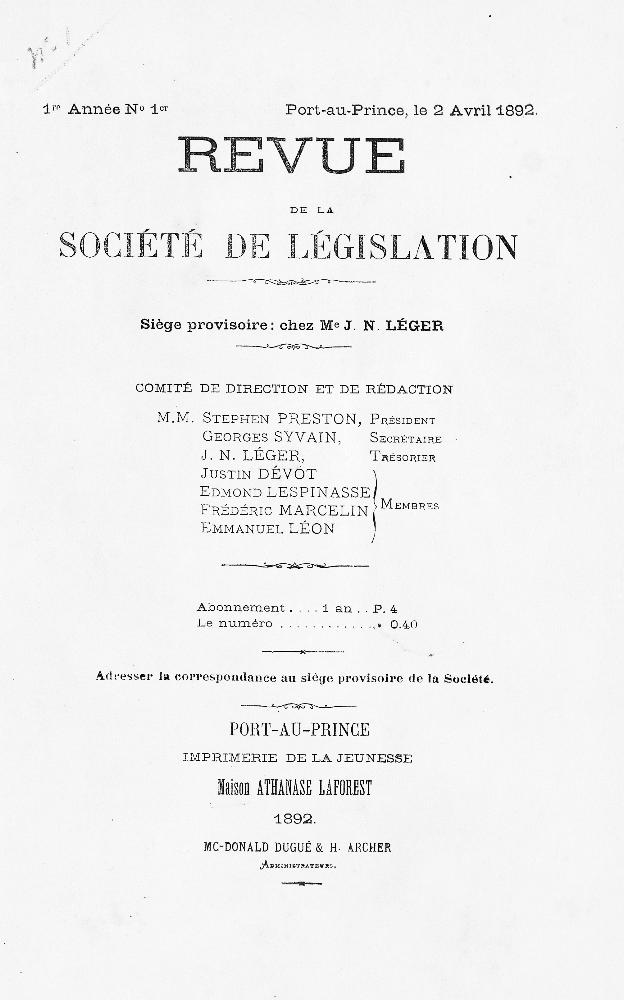 Revue de la Société de législation - Page 1