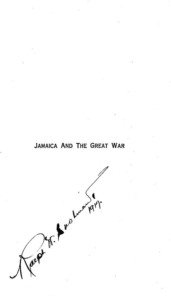 Jamaica and the Great War - Front Cover