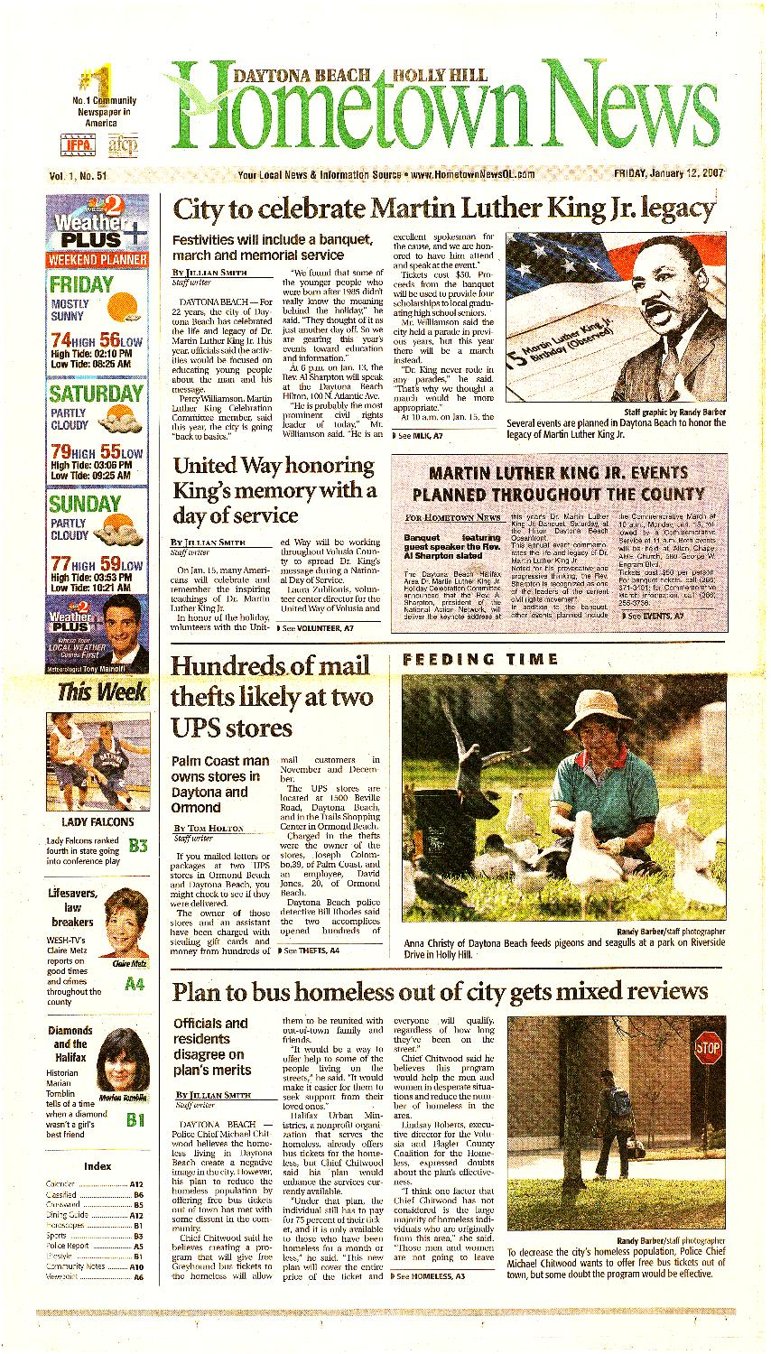 Hometown news (Daytona Beach, FL). 2007. - page 1