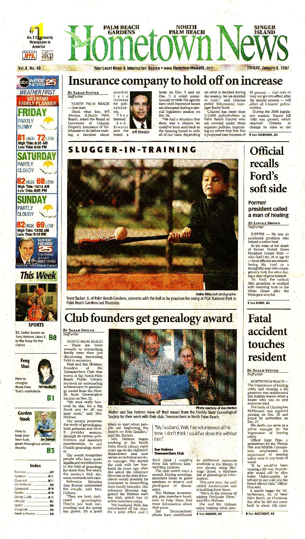 Hometown news (Palm Beach Gardens, FL). 2007. - page 1