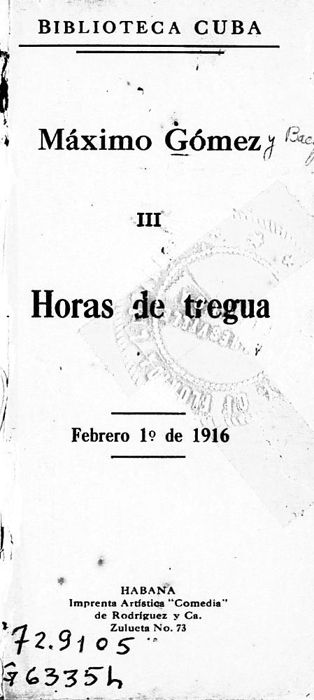 Horas de tregua - Front Cover 1