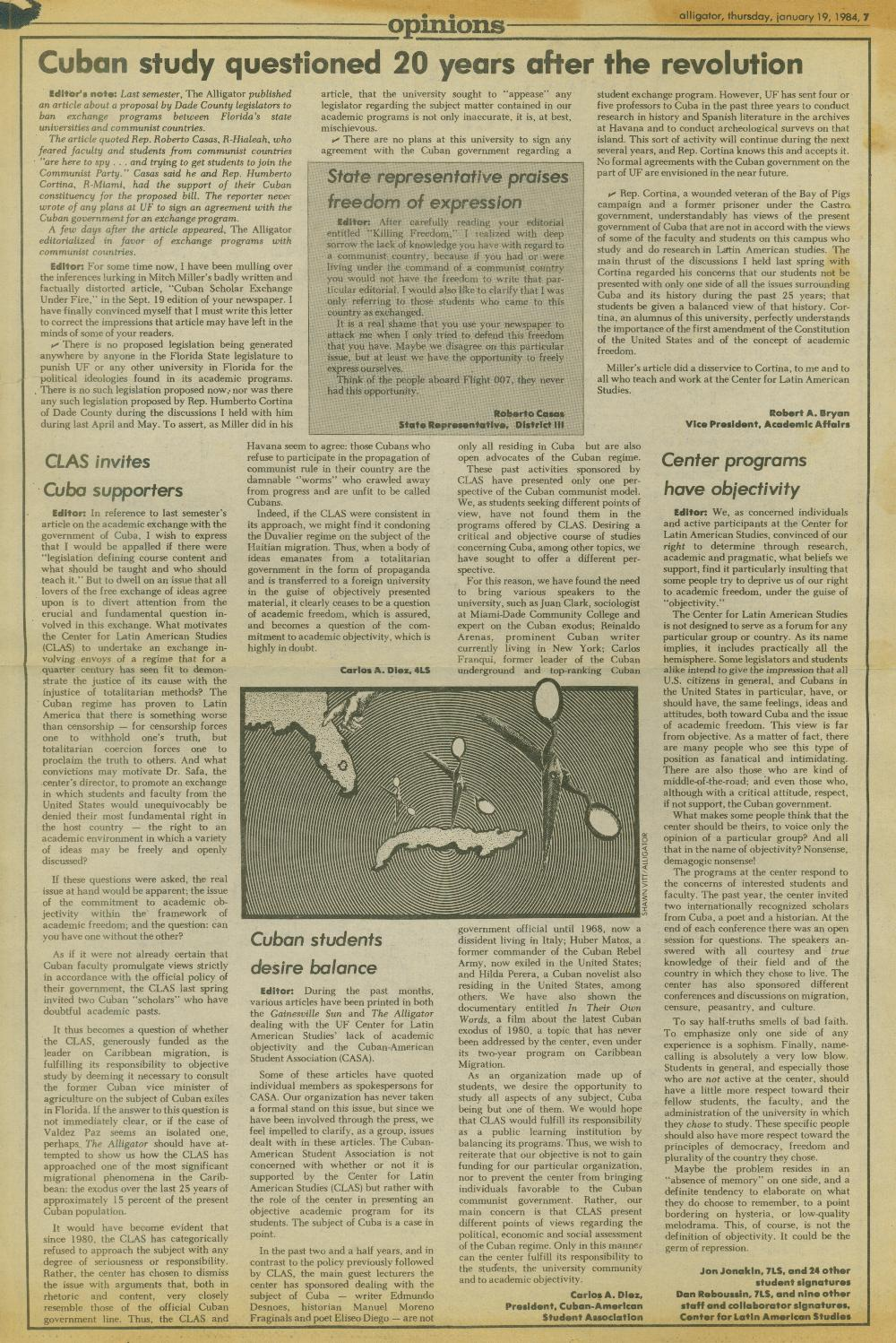 "Opinions page, Independent Florida Alligator, January 19, 1984 : rebuttle to ""Cuban Scholar Exchange Under Fire"" article published September 19, 1983. 1984."