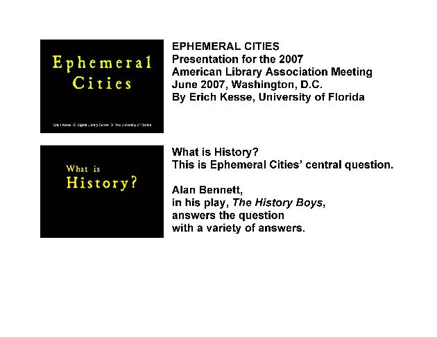 Ephemeral Cities (American Library Association presentation, 2007) - Page 1
