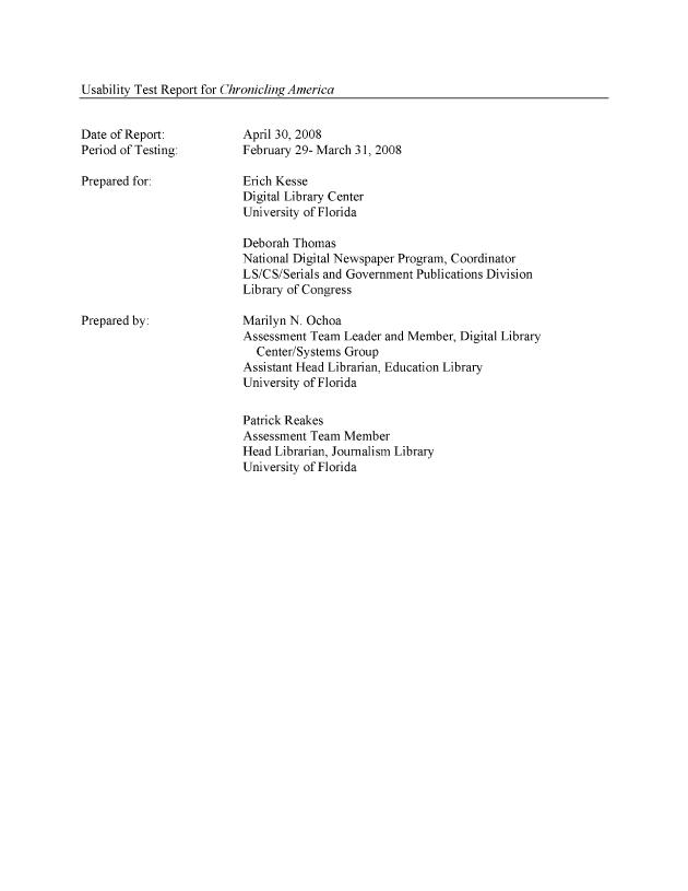 Usability Test Report for Chronicling America - Page 1