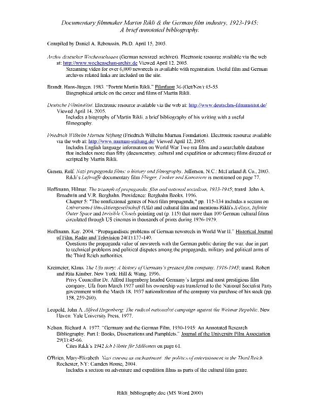 Rikli Bibliography - Page 1