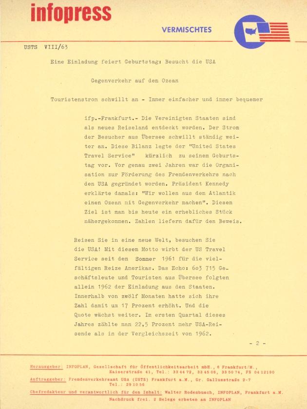 Press release - Eine Einladung feiert Geburtstag: Besucht die USA - Page 1