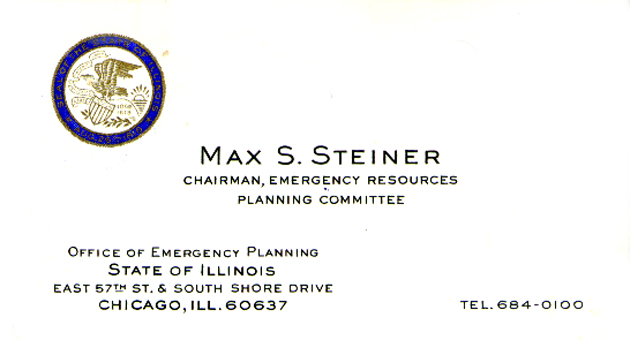 Business card for Max S. Steiner