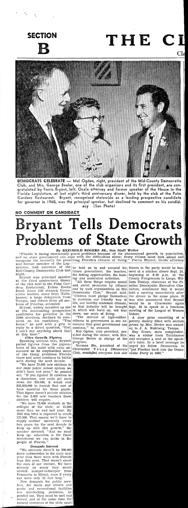 Clearwater Sun article: Bryant Tells Democrats of State Growth.  ( 1959-09-18 )