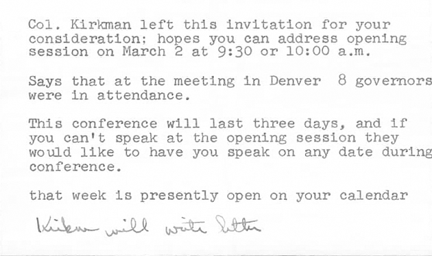 Col. Kirkman left this invitation for your consideration...