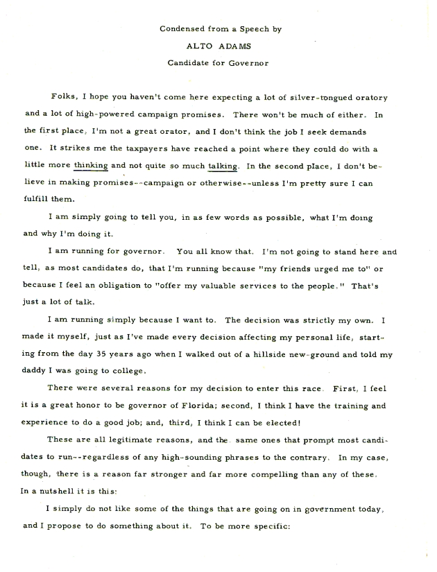 Condensed from a Speech by Alto Adams, Candidate for Governor - Page 1