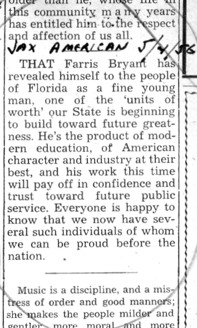 Excerpt from Jacksonville American editorial.  ( 1956-05-04 )