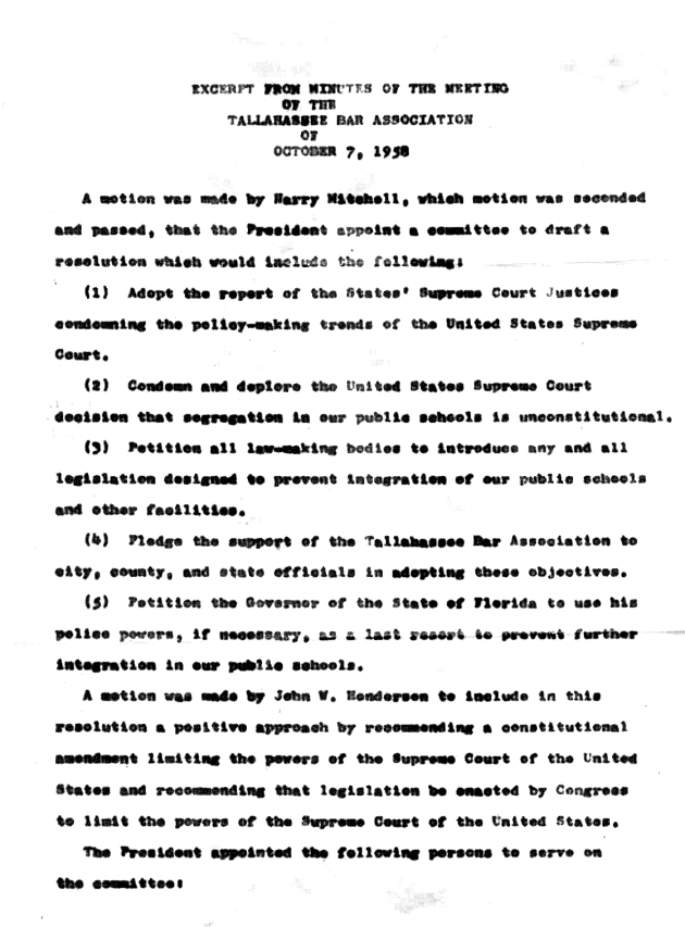 Excerpt from minutes of the meeting of the Tallahassee Bar Association.  ( 1958-10-07 ) - Page 1