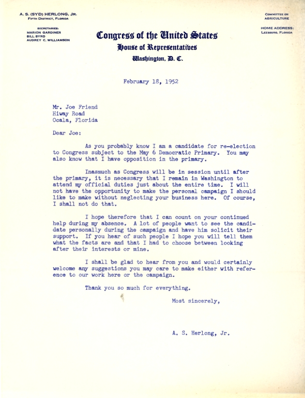 Letter from A. S. Herlong, Jr. dated 1952-02-18.  ( 1952-02-18 )