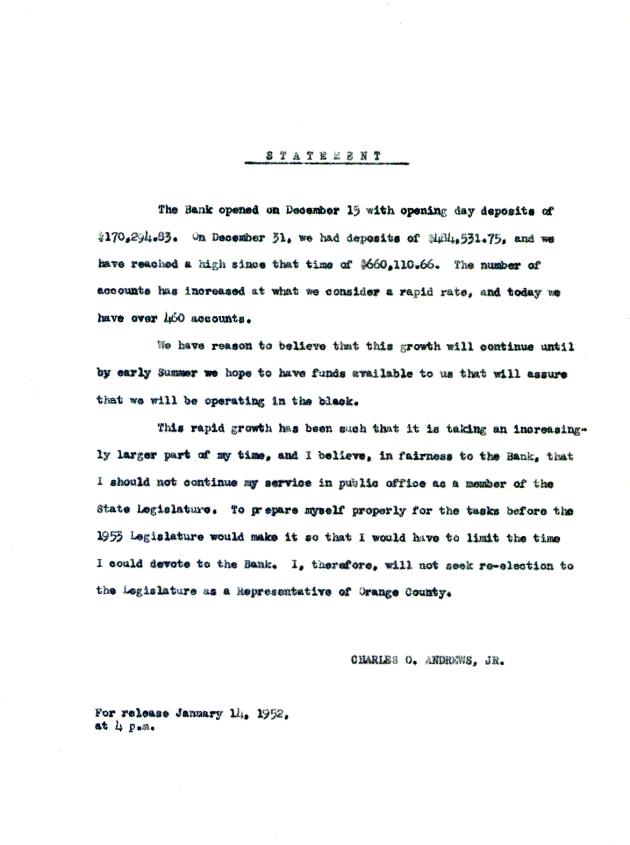 Letter from Charles O. Andrews, Jr.