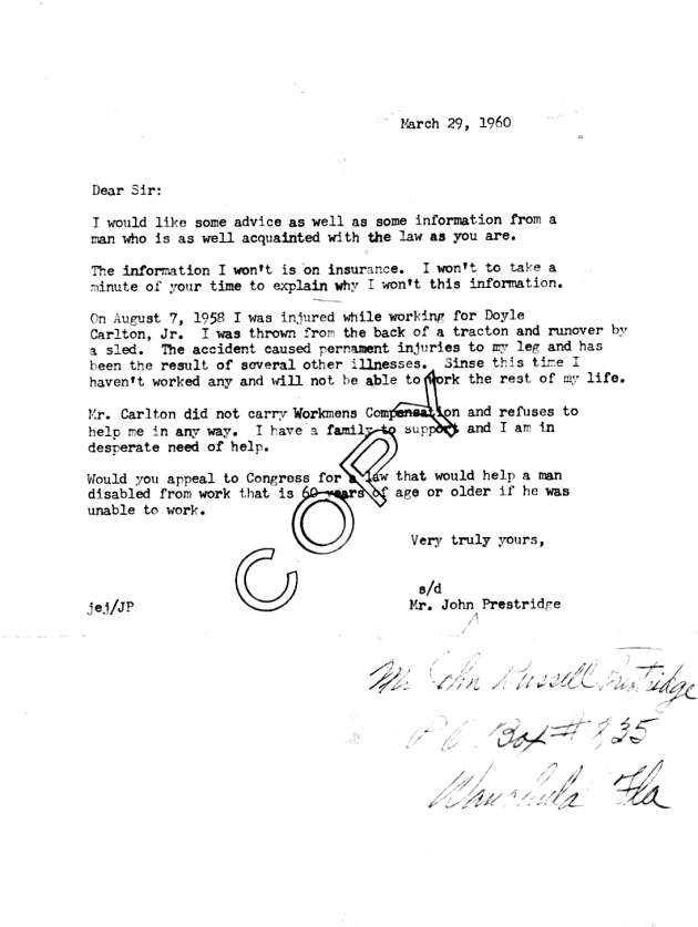 Letter from John Prestridge dated 1960-03-29.  ( 1960-03-29 )