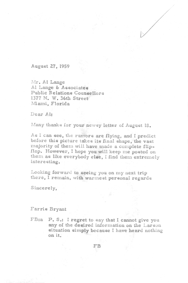 Letter to Al Lange from Farris Bryant.  ( 1959-08-27 )