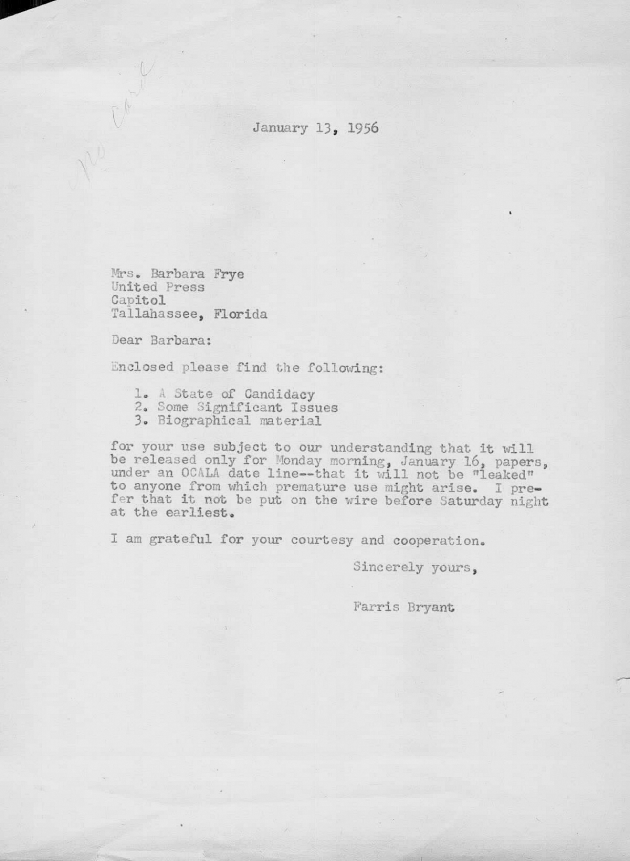 Letter to Barbara Frye from Farris Bryant.  ( 1956-01-13 )