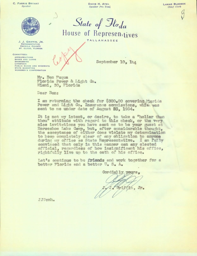 Letter to Ben Fuqua from J. J. Griffin, Jr..  ( 1954-09-10 )