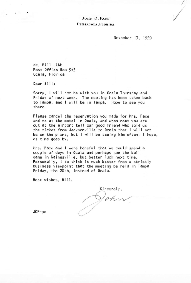Letter to Bill Jibb from John Pace.  ( 1959-11-13 )