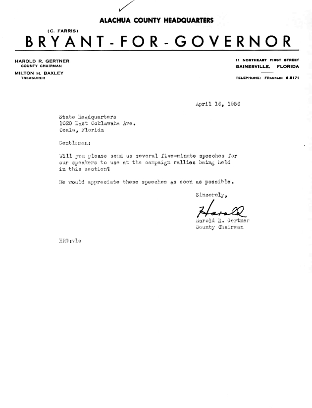 Letter to Bryant for Governor State Headquarters from Harold R. Gertner.  ( 1956-04-16 )