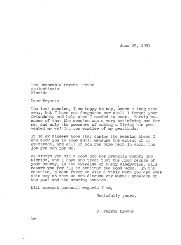 Letter to Bryant Patton from C. Farris Bryant.  ( 1951-06-25 )