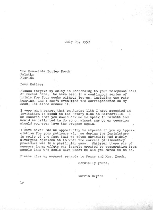 Letter to Butler Dowda from Farris Bryant.  ( 1953-07-23 )
