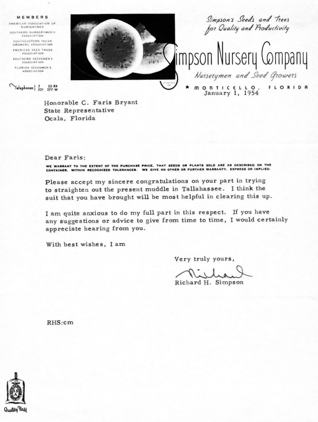 Letter to C. Faris Bryant from Richard H. Simpson.  ( 1954-01-01 )