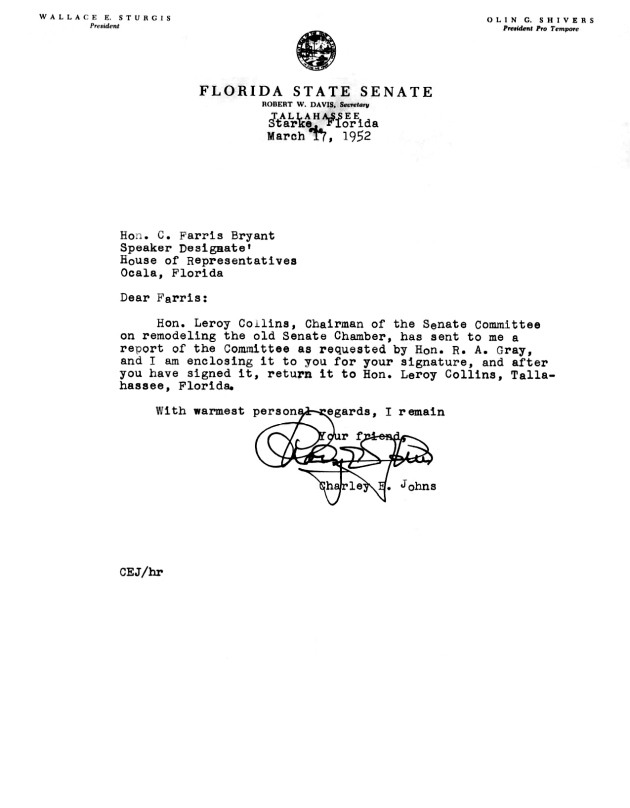 Letter to C. Farris Bryant from Charley E. Johns.  ( 1952-03-17 )