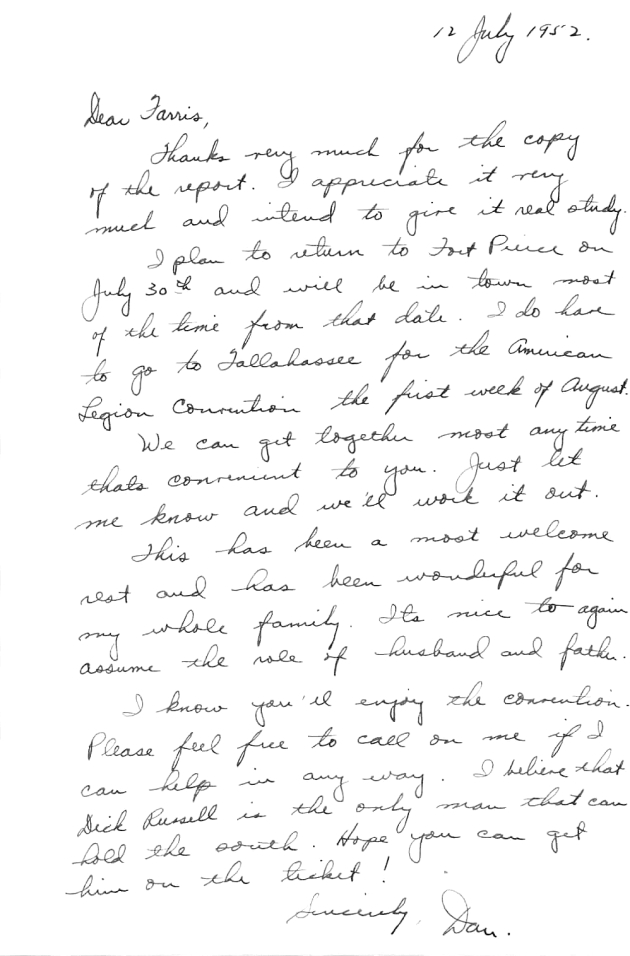 Letter to C. Farris Bryant from Dan McCarty.  ( 1952-07-12 )