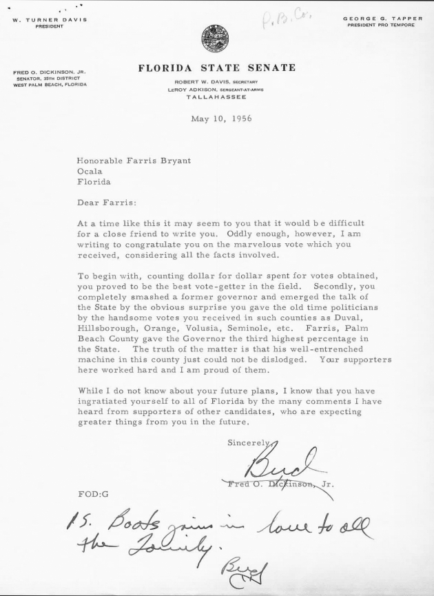 Letter to C. Farris Bryant from Fred O. Dickinson, Jr..  ( 1956-05-10 )