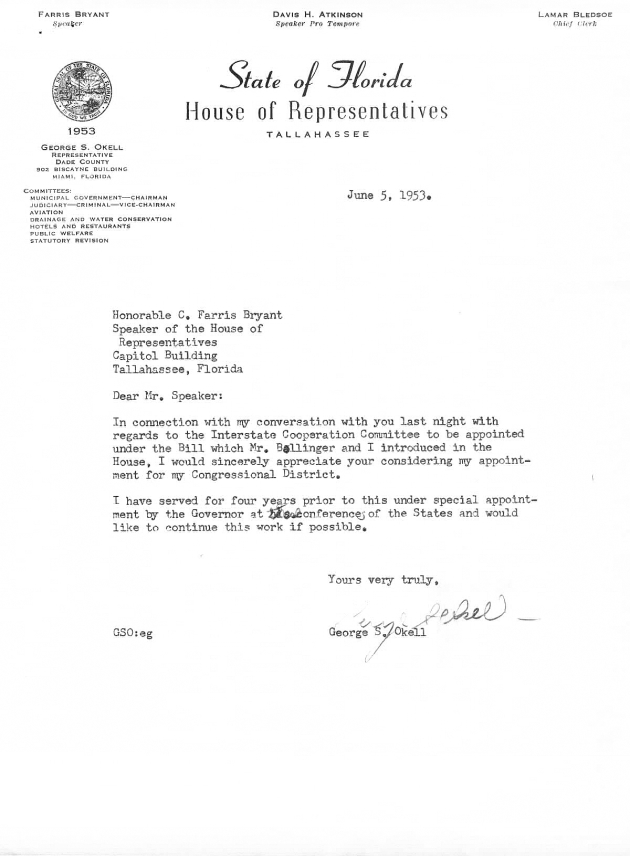Letter to C. Farris Bryant from George S. Okell.  ( 1953-06-05 )