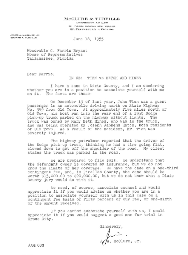 Letter to C. Farris Bryant from J. A. McClure, Jr..  ( 1955-06-16 )