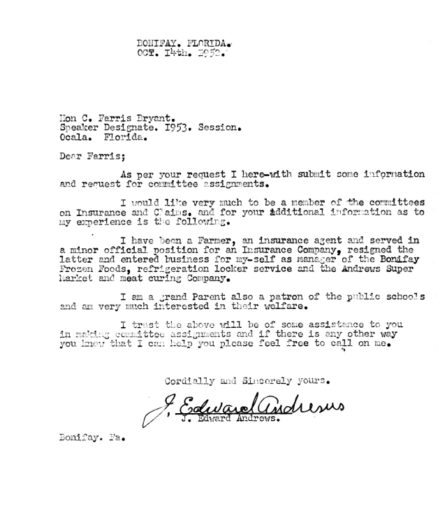 Letter to C. Farris Bryant from J. Edward Andrews.  ( 1952-10-14 )