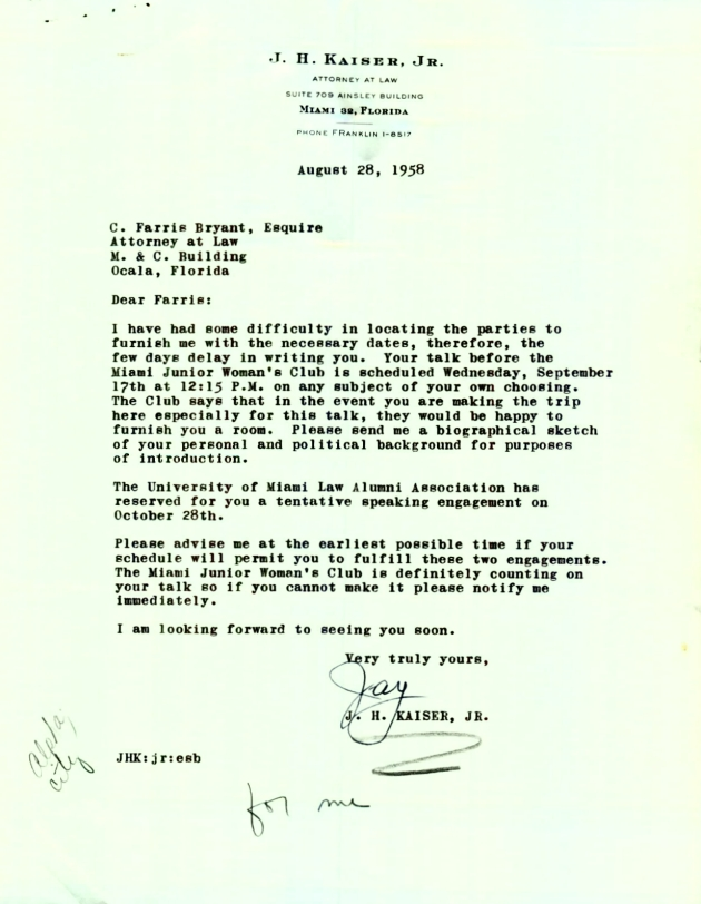Letter to C. Farris Bryant from J. H. Kaiser, Jr..  ( 1958-08-28 )