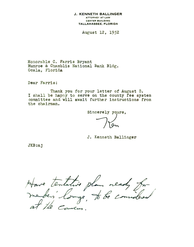 Letter to C. Farris Bryant from J. Kenneth Ballinger.  ( 1952-08-12 )