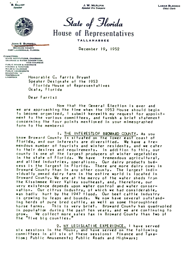 Letter to C. Farris Bryant from John S. Burwell.  ( 1952-12-19 ) - Page 1