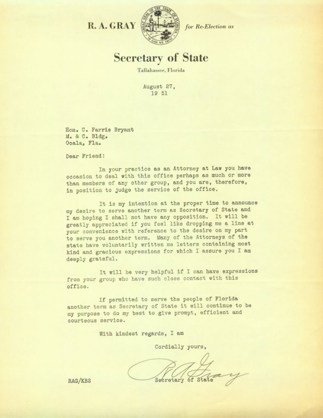 Letter to C. Farris Bryant from R. A. Gray.  ( 1951-08-27 )