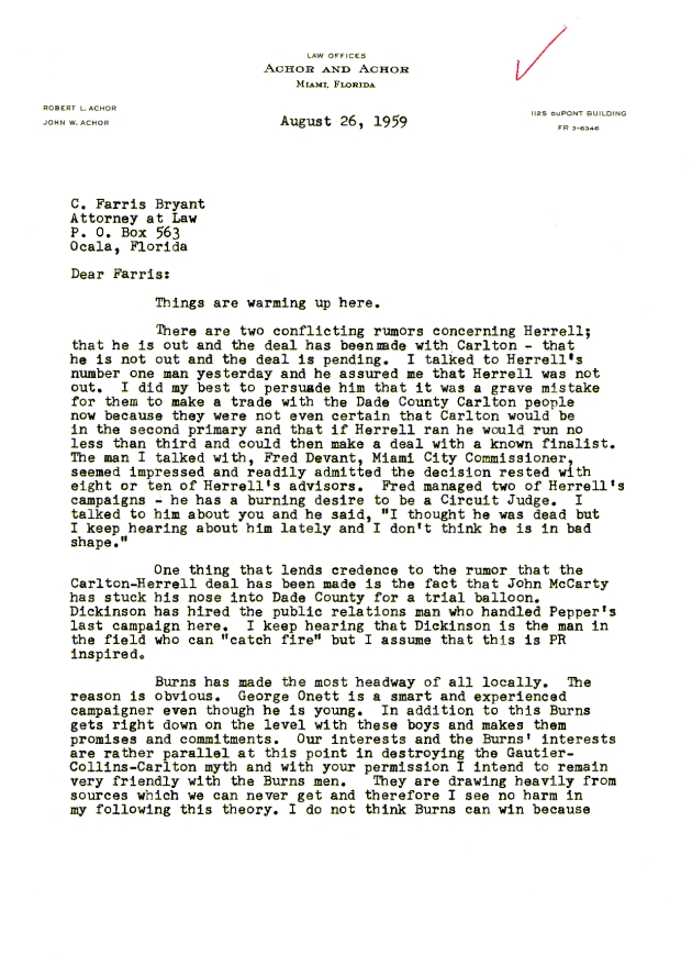 Letter to C. Farris Bryant from Robert L. Achor.  ( 1959-08-26 ) - Page 1