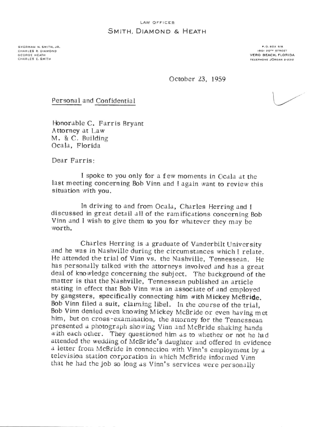 Letter to C. Farris Bryant from Sherman N. Smith, Jr..  ( 1959-10-23 ) - Page 1
