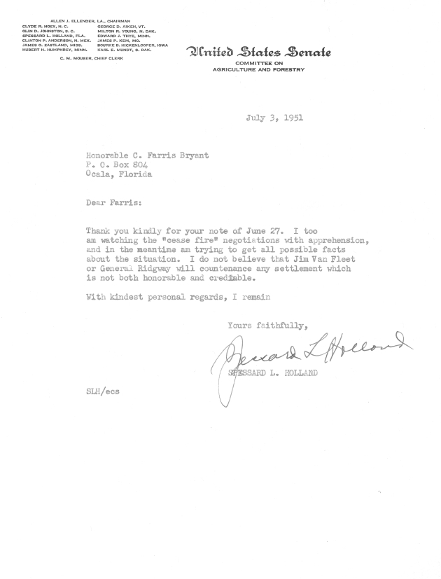 Letter to C. Farris Bryant from Spessard L. Holland.  ( 1951-07-03 )