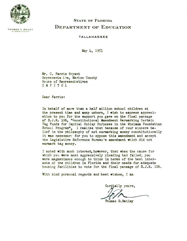 Letter to C. Farris Bryant from Thomas D. Bailey.  ( 1951-05-04 )