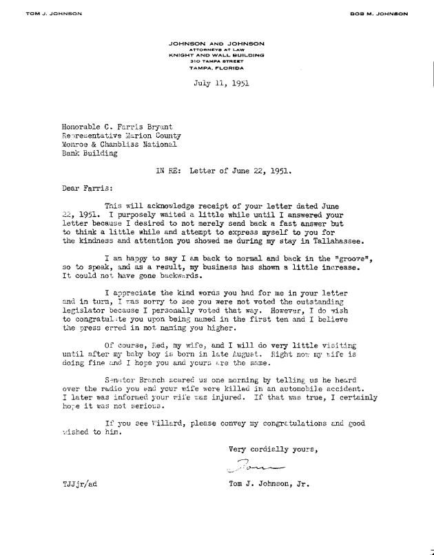 Letter to C. Farris Bryant from Tom J. Johnson, Jr..  ( 1951-07-11 )