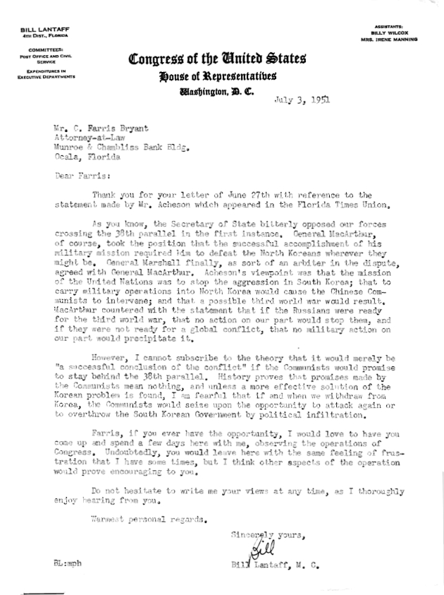 Letter to C. Farris Bryant from William C. Lantaff.  ( 1951-07-03 )