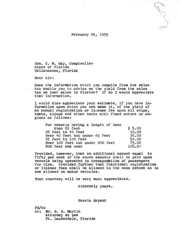 Letter to C. M. Gay from Farris Bryant.  ( 1955-02-25 )