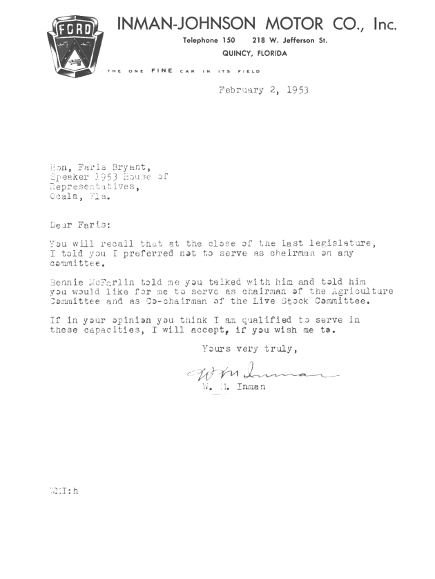 Letter to Farris Bryant from W. M. Inman.  ( 1953-02-02 )