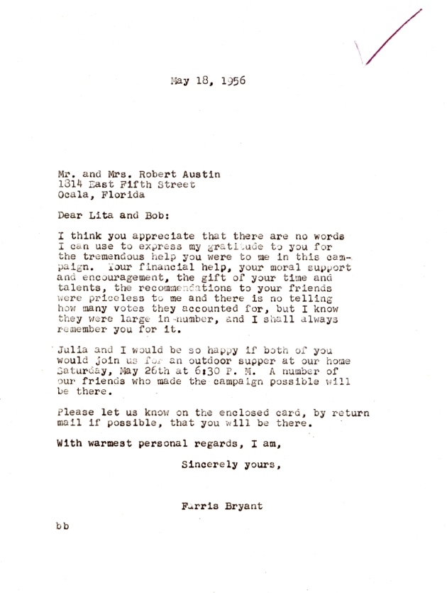 Letter to Lita and Robert Austin from C. Farris Bryant.  ( 1956-05-18 )