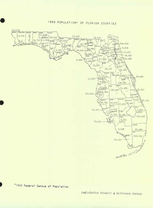 1950 Population of Florida Counties (map).  ( 1950-00-00 )