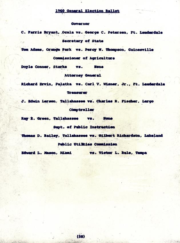 1960 General Election Ballot