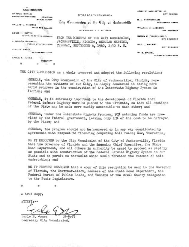 Excerpt from the minutes of the City Commission of Jacksonville Florida meeting.  ( 1960-09-06 )