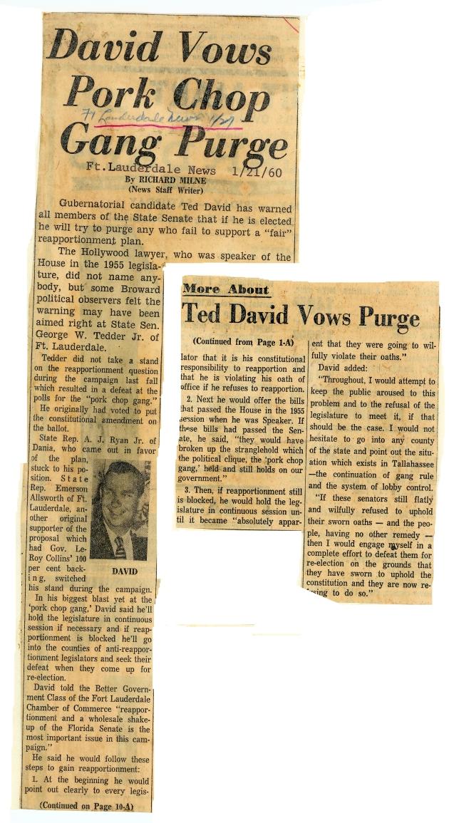 Ft. Lauderdale News article: David Vows Pork Chop Gang Purge.  ( 1960-01-21 )